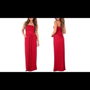 Beautiful Red Maxi Dress, has pockets